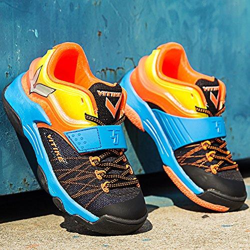 ASHION Sportschuhe der Kinder Jungen Frühling Gitter Breath Student Basketball-Schuhe Big Jungfrau Boy Laufschuhe Orange