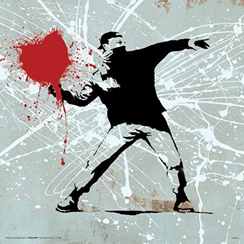 Culturenik Banksy Herz Molitov Cocktail Inspirierende Motivational politischen Dekorative Graffiti Urban Art Poster Print 12Wx12L Black, Red, Grey