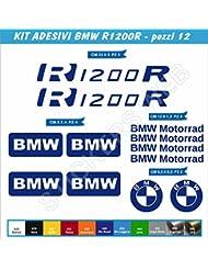 R1200R pegatinas stickers BMW R1200 R Juego de 12 piezas-SCEGLI COLORE-motorbike Cod.0063 moto, Blu Royal cod. 049