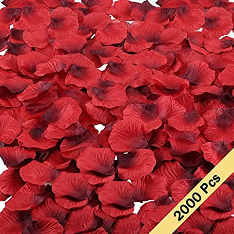 MIHOUNION 2000Pcs Artificial Silk Red Rose Petals Confetti for Wedding Flower Girl Basket Window Display Valentine's Day Anniversary Propose Table