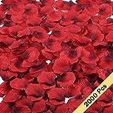 MIHOUNION 2000pcs Pétalos de rosa Diseños de flores de seda falsa Estilo romántico Decoración Fiesta Boda Al aire libre y Dia de San Valent etc (roja)