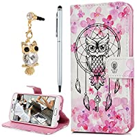 For Samsung Galaxy S6 Case, YOKIRIN 3D PU Leather Magnetic Adsorption Folio Inner Soft TPU with Card Slots Kickstand Flip Wallet Case (with Dust Plug & Stylus Pen), Owl
