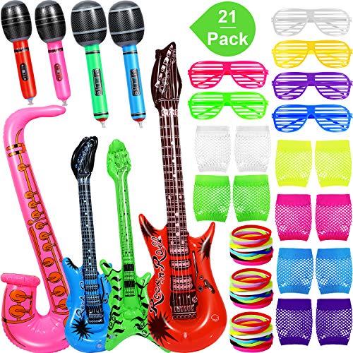 Aufblasbar Rock Stern Spielzeug, Enthalten 2 Stück Gitarre, Grün Bass, Rosa Saxophon, 4 Stücke Mikrofonen, 6 Paar Verschluss Schattierung Brille, 6 Paar Netz Handschuh, 36 Stücke Silikon Armband