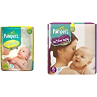 Pampers Active Baby Diapers, New Born, 72 Count&Pampers Active Baby Diapers, Small, 92 Count