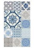 Huella deco Fußabdruck Deco Teppich in türkisblauem Vinyl blau 70x 40cm
