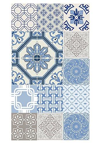 Foto de Huella deco Alfombra Bañada en Vinilo Azul 70 x 40 cm