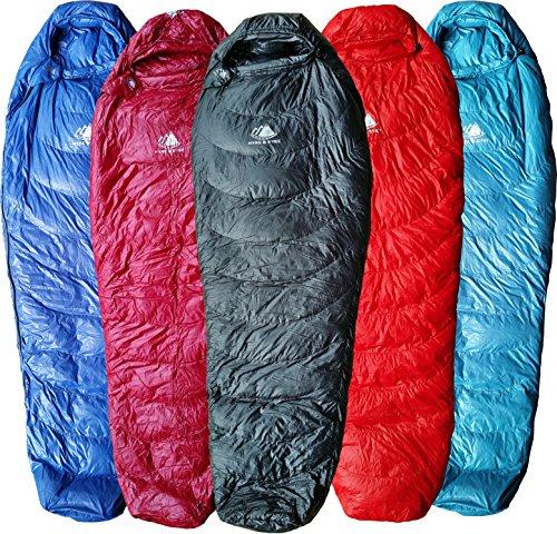 Hyke & Byke Shavano 0C Ultraleicht Mummy Down Schlafsack für Backpacking mit Kompressions Sack und Fünf (5) Farboptionen (Shwarz, Regular) (Lite Lange Mumienschlafsack)