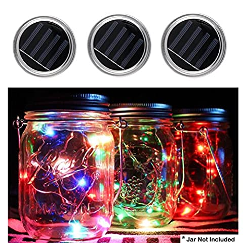 3 Pack Mason Jar Lights Lid 10 LED mason jars with lights Fairy String Lamp for Patio Garden Path Wedding Party Decorative Festival Celebration Light (Jars Not