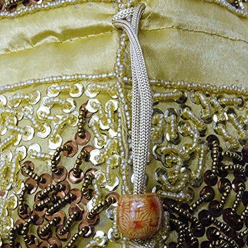 Indische Handgemachte Potli Tasche Ethnische Beutel Wulst Münze Hochzeit Kupplung Partei Geldbörse Beige und Golden