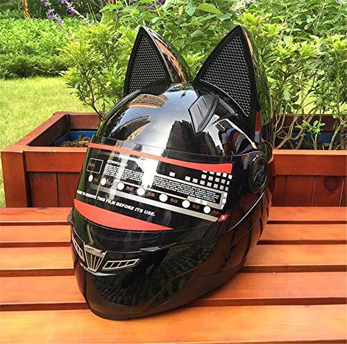 Pkfinrd Casco moto integrale casco moto integrale doppio obiettivo casco integrale casco integrale con orecchie da gatto con casco angolare - materiale ABS@nero_M