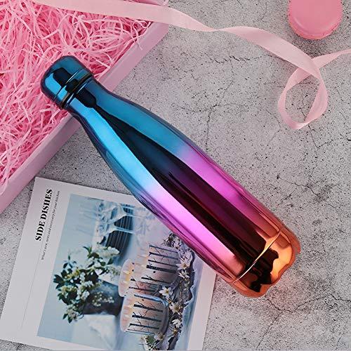 kookea Stil Galvanik Farbverlauf Coke Flasche Thermos Tragbare Sports Cup Doppel-Vakuum 304Edelstahl Outdoor Wasser Cup, Gradient Dark Blue