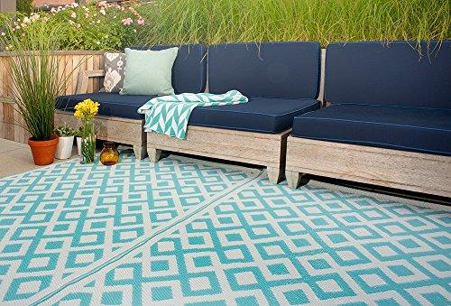 Fab Hab - Marina - Alfombra para Exterior e Interior - Azul y Blanco Brillante - (120 cm x 180 cm)