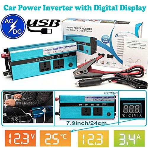 Preisvergleich Produktbild 1500 W Auto Akku Power Inverter Auto DC 12 V bis AC 220 V Adapter - 4 USB Lade-Ports + 2 220 V Steckdose