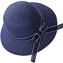 Butterme mujeres niñas Bowknot Floppy Playa Paja Sombrero de sol Large borde dun visera sombrero de playa de verano, azul marino