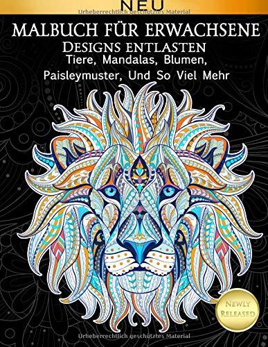 Malbuch Fur Erwachsene Designs Entlasten Tiere, Mandalas, Blumen, Paisleymuster,