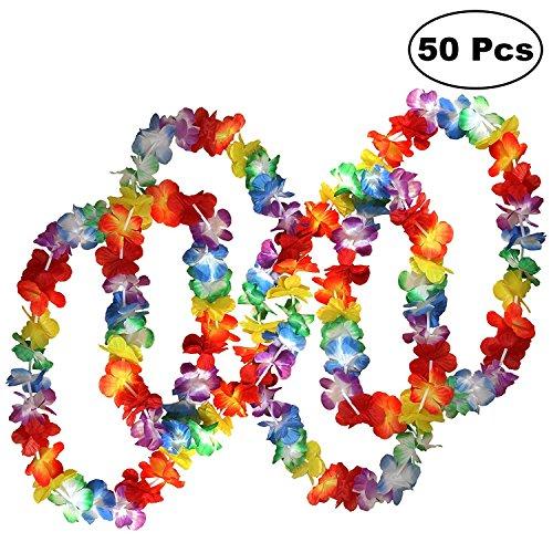 Kurtzy 50 Hawaiianische Kränze Tropische Blumen Lei Jumbo Party Tasche - Hawaii Blumenketten Girlanden Perfekt für Themenbezogenen Geburtstage, Graduierung, Abschlussfeier, Abitur, Weihnachten