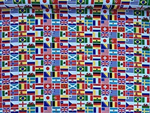 Drapeaux Coupe du monde FIFA 2014 100%  coton tissu de robe Prints world cup Olympics, coussins, Patchwork etc Robe PRESTIGE FASHION Tissu au mètre