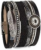 styleBREAKER Armband mit Ethno Style Amulett, Feder Anhänger, Strasssteine, Webstoff, Magnetverschluss, Damen 05040043, Farbe:Schwarz