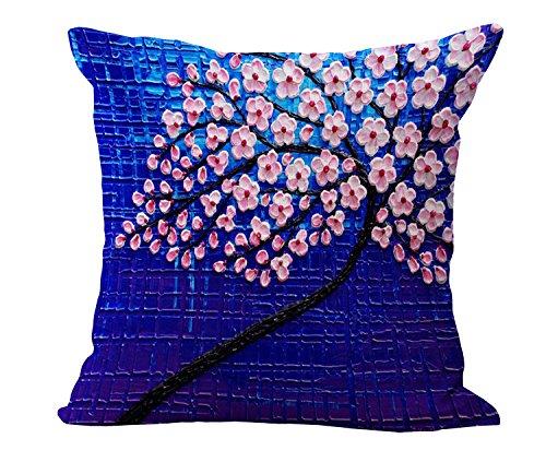 Lazamyasa cotone lino tiro copertura del cuscino decorativo 45,7x 45,7cm pittura ad olio fiore bianco nero albero e cuscino di casa federa P1001-3