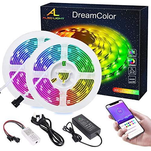 Dreamcolor Tira LED con Bluetooth APP, ALED LIGHT 10m(2x5m) 5050 Impermeable Flexible...