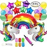 Clerfy Acc Unicornio y Arco Iris Globo de Cumpleaños Kit-de Fies