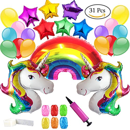 Clerfy Acc Unicornio y Arco Iris Globo de Cumpleaños Kit-de Fiesta de...