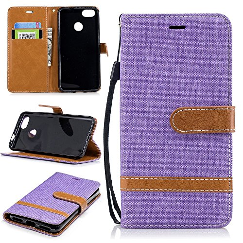 Price comparison product image Jean Cloth PU Leather Wallet Stand Mobile Shell for Huawei P9 lite mini/Y6 Pro (2017)/Enjoy 7 - Purple