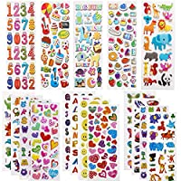 3D Stickers for Kids, 500+ Bulk Puffy Stickers for Girl Boy Birthday Gift, Scrapbooks, Bullet Journal,Teachers, Toddlers, Including Animals, Numbers, Dinosaurs, Cars, Hearts and More