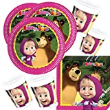 Masha and the Bear - Set of tableware - 52 Part - For 16 guests