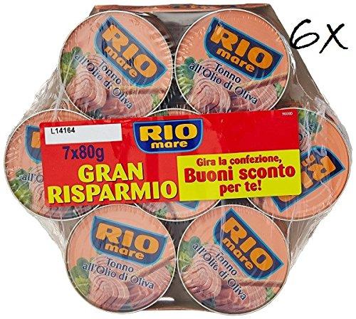6x Rio Mare Tonno all'olio di oliva 7 dosen Mega pack Thunfisch in Olivenöl (42 x 80g)