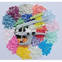 JZK® 300 x 20 colores T5 plástico Snaps Botones Presion Redondo + Herramienta Snaps Alicate metal, DIY Manualidades