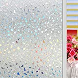 Película Autoadhesiva de Cristal, Pegatina de Ventana Translúcida Adhesiva de Privacidad Decoración para ventanal de salon terraza mampara baño cocina, 90 x 200cm, Uuhome