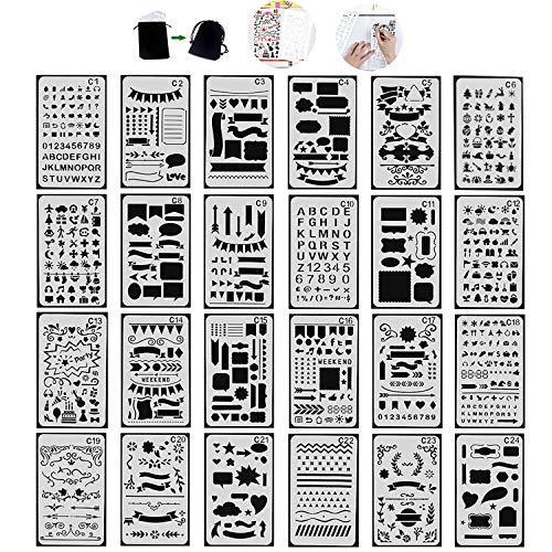 Tian Zeichenschablonen Set mit Exquisit Segeltuch Tasche - 24 Stück Schablonenmalerei Stencil Set Kunststoff Schablonen für Bullet Journal Scrapbooking DIY Design und Craft Projekte