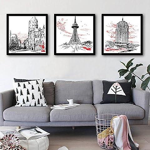 modylee città costruzione incorniciato pittura linoleum dipinti pittura decorativa soggiorno, camera PC 3pittura a olio su tela, Black,