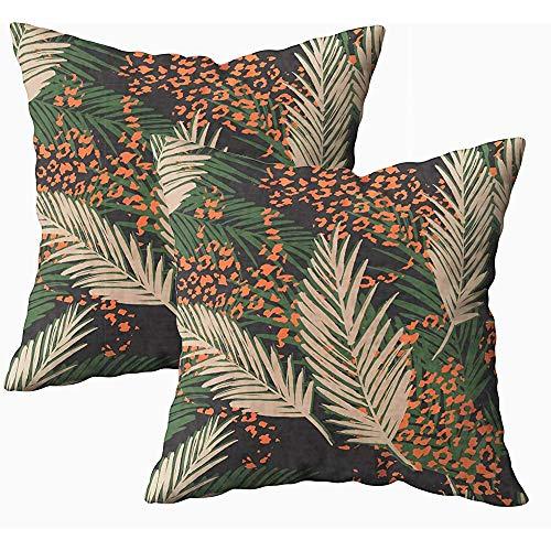 Ducan Lincoln Pillow Case 2PC 18X18,Art Kissenbezug,Quadratische Kissenbezüge Exotic Pattern Palm Leaves Animal Draw Both Sides Cushion -