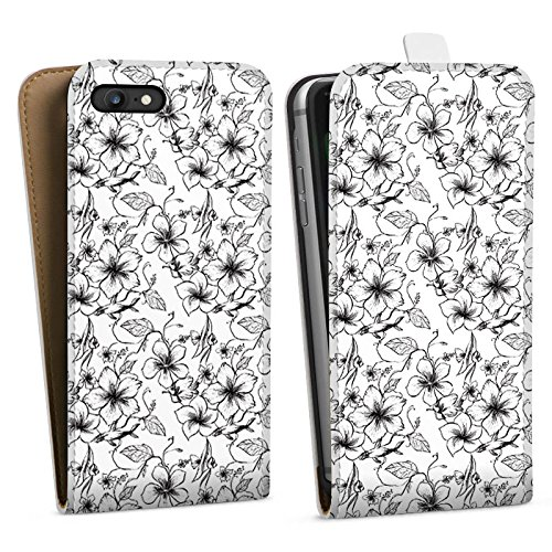 Apple iPhone X Silikon Hülle Case Schutzhülle Blumen Vintage Muster Downflip Tasche weiß