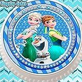 Kuchenaufsatz aus Zuckerguss, vorgeschnitten, essbar, 19 cm, rund, Motiv: Eiskönigin Party-Fieber Anna Elsa und Olaf