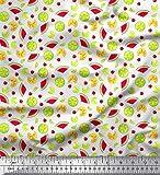 Soimoi Weiß Baumwolle Ente Stoff Zitronenscheibe, Kirsche