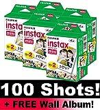 Fujifilm Instax Mini set di rullini per fotocamera, 100 foto, con album da parete incluso