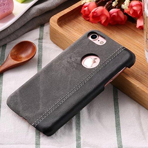 Case Cover IPhone 7 Plus, copertura posteriore di plastica dura di cuoio del cowboy Jeans Texture modello per IPhone 7 Plus ( Color : Black , Size : IPhone 7 Plus ) Black
