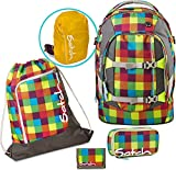 Satch by Ergobag Schulrucksack-Set 5-tlg Beach Leach 2.0 901 karo bunt