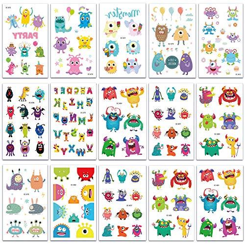 SZSMART Monster Temporäre Tattoos für Kinder Monster Tattoos Set Kindertattoos Aufkleber für Jungen Mädchen Kindergeburtstag Mitgebsel, 15 Blätter