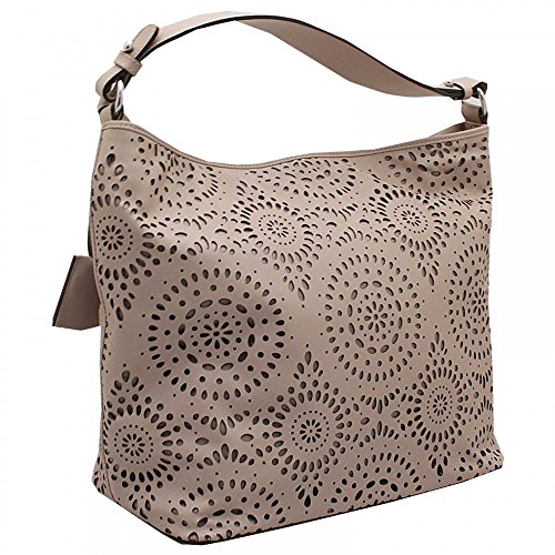 Abro Laser Cut Detail Shoulder Handbag Beige
