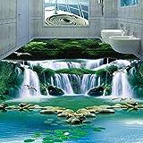 Mbwlkj Kundengebundener Grundwasser-Wasserfall-Waldgrün-Tapeten-Fantasie 3D Badezimmer-Boden-Schlafzimmer-Selbstklebender 3D Bodenbelag-400cmx280cm