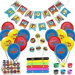 Juego de decoración de cumpleaños de superhéroes (31 Piezas) - Globos de Colores con pancartas de superhéroes y pancartas de superhéroes, decoración de Pasteles, Pegatinas y muñequera para niños