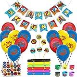 caicainiu Superhero Birthday Decor Set (31 Packs) - Joyeux Anniversaire, bannière et Ballons
