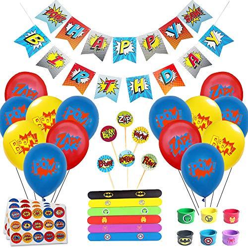 61m9p3peneL - Juego de decoración de cumpleaños de superhéroes (31 Piezas) - Globos de Colores con pancartas de superhéroes y pancartas de superhéroes, decoración de Pasteles, Pegatinas y muñequera para niños