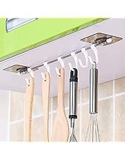 Zurato Plastic Magic Sticker Series Self Adhesive Bathroom Towel Hanger Hook Rail/Utensil Rack Kitchen Hanger Hooks for Cup (White, 6Hooks, 40 * 7cm)