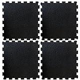 Puzzlematten aus Gummigranulat | Fitnessmatte als Bodenbelag für Sport und Fitness | Unterlegmatten für Fitnessgeräte | Sportmatte 4 Stück je 50x50 cm schwarz