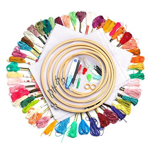 Stickerei Starter Kit Einschließlich 50 Farbe Stickgarn Nähen Punch Nadeln Craft Tool - Punch-stickerei-starter-kit